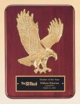Rosewood Piano Finish Plaque with Gold Eagle Casting Eagle Trophy Awards